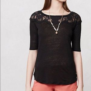 Anthropologie Bordeaux black lace shirt